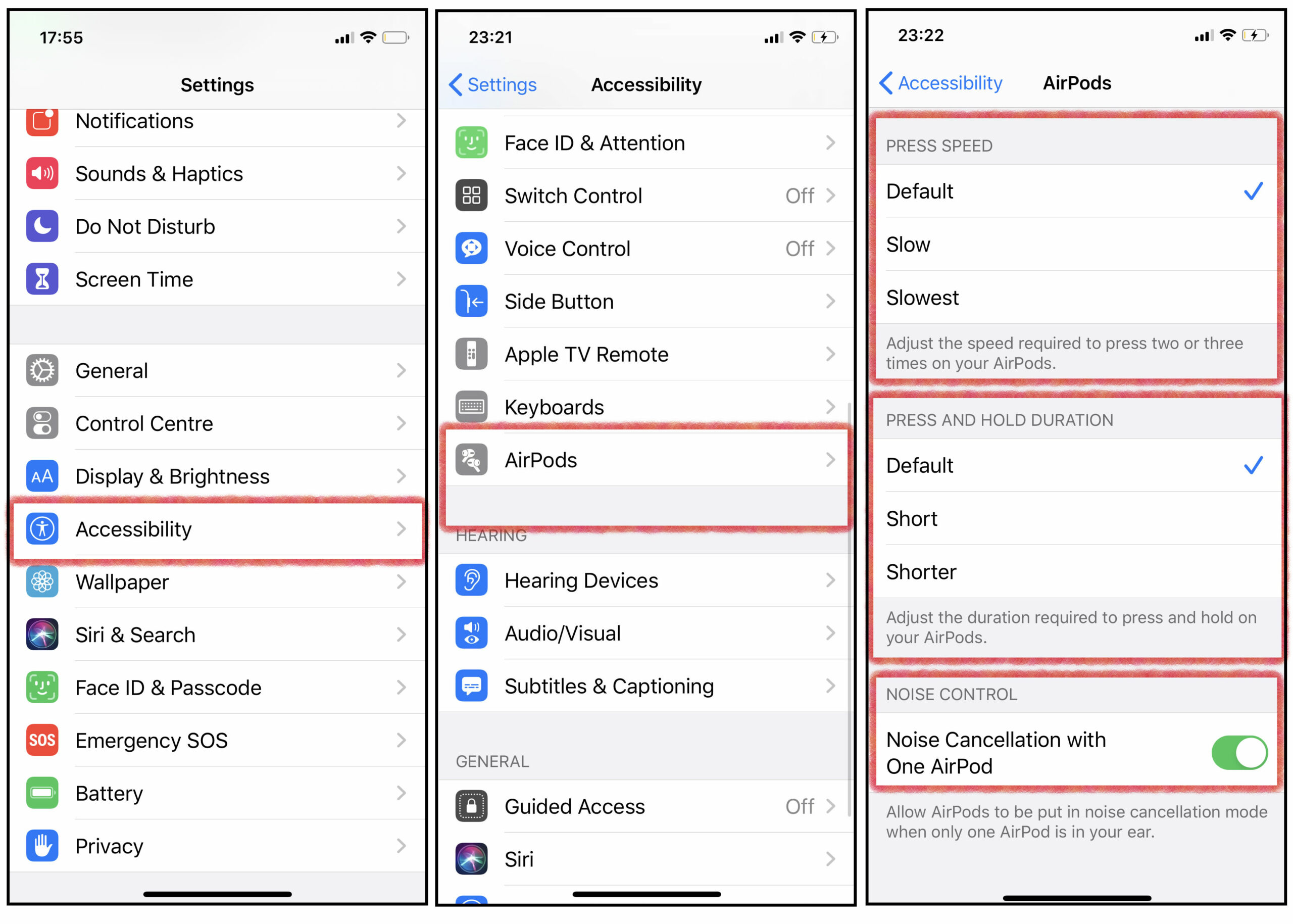 Screen Captures of AirPods Pro Accessibility Controls
